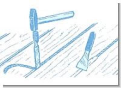 Заделка щелей веревкой в клее ПВА