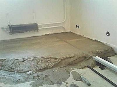 Заливка стяжки из смеси керамзита, цемента и песка