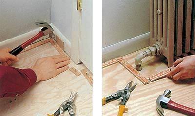 Установка реек для укладки ковролина методом стретчинга