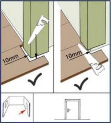 Как подрезать ламинат под двери