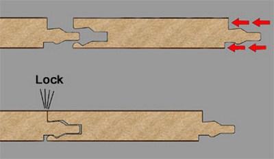 """Способ соединения ламината """"Lock"""" -замками"""