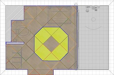 Диагональная раскладка плитки в ванной