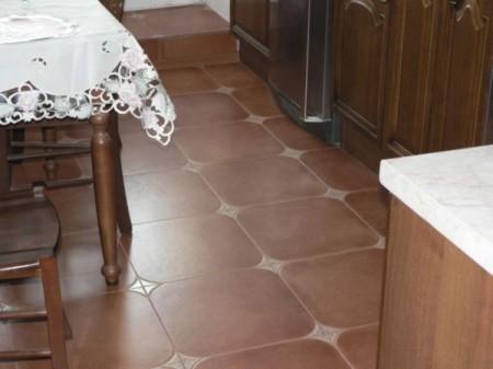Пол из керамической плитки для кухни