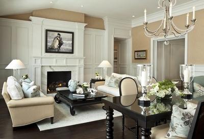 Дизайн гостиной с темным полом
