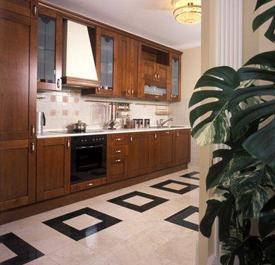 Дизайн пола на кухне
