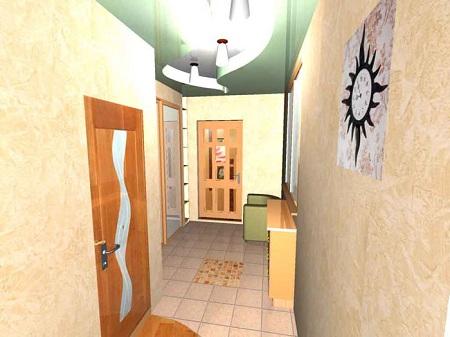 Дизайн пола в коридоре при помощи плитки